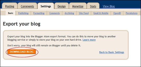 backing up blogger