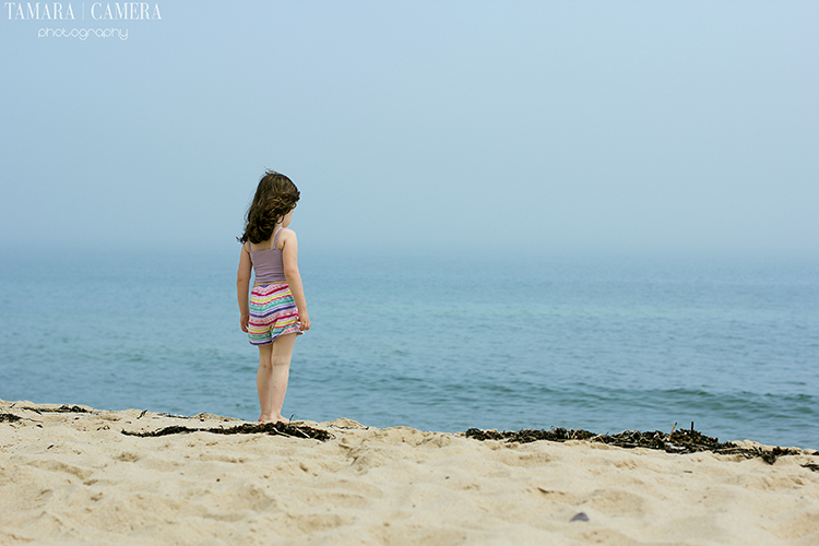 Girl at the beach | The low contrast colors make this photograph very peaceful