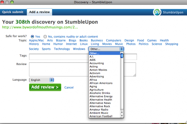 Categorize by topic in stumbleupon