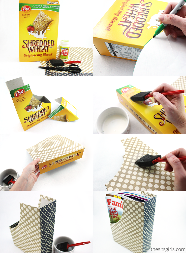 Diy home decor magazine holders out of cereal boxes for What to make out of cereal boxes
