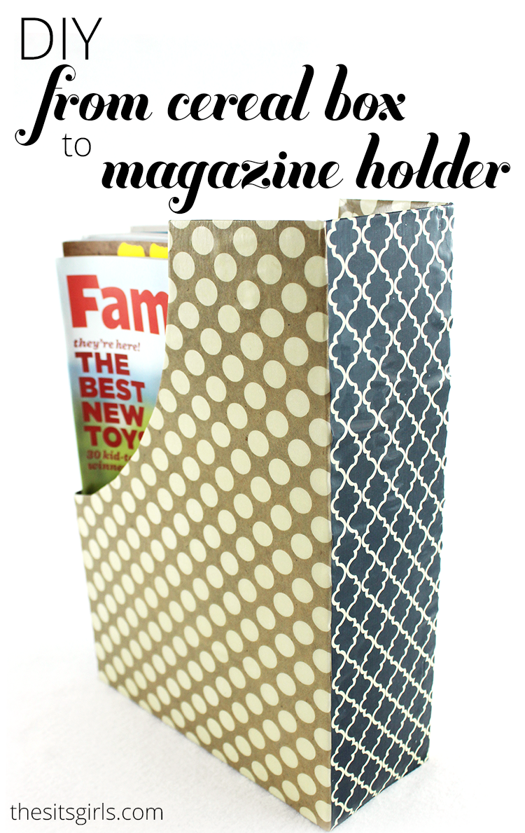 Great home decor DIY project to help you get organized: turn old cereal boxes into magazine or coloring book holders that will look nice on a table or bookshelf.