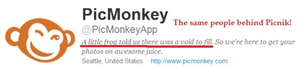 Twitter Bio for PicMonkey