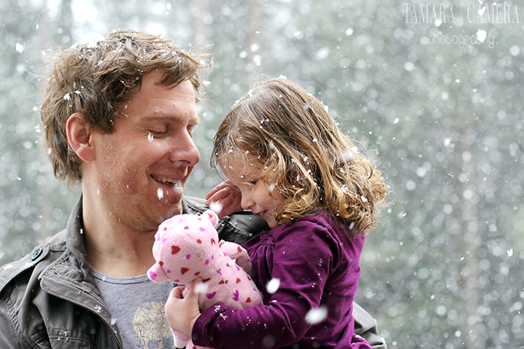 Father and daughter enjoying a snowy day!