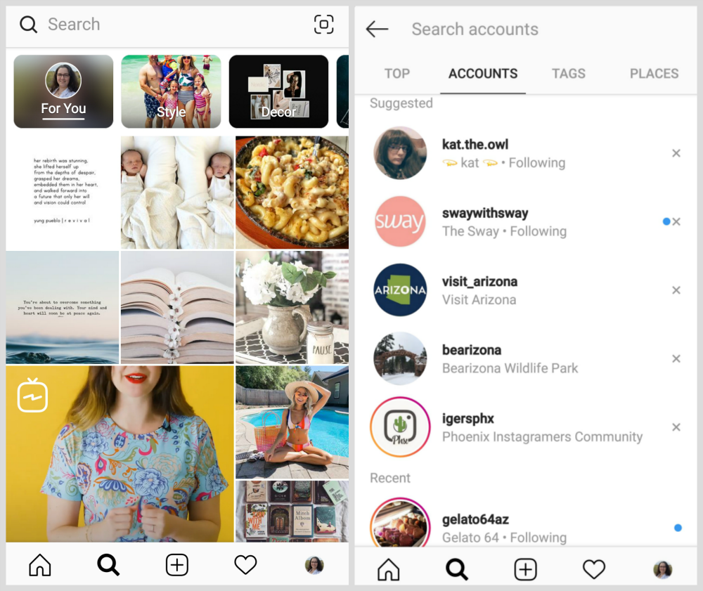 Screenshot of Instagram Search Tabs