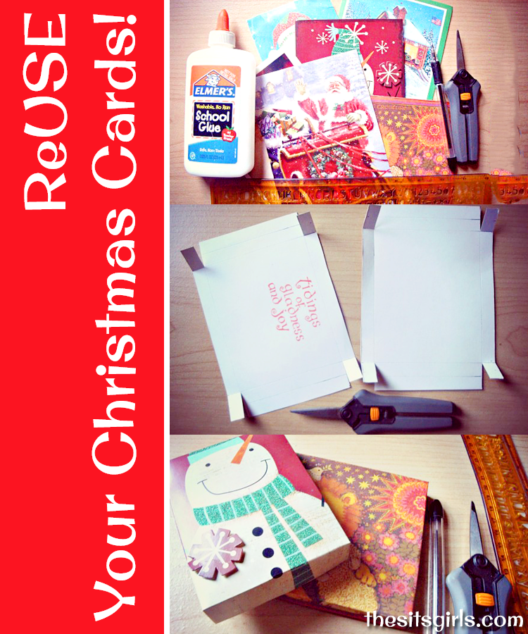 Give your old Christmas cards new life by using them to make these homemade gift boxes. They will add an extra touch of fancy to your presents this year.