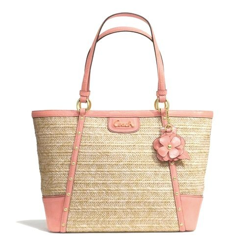 NWT-COACH-ALEXANDRA-STRAW-CORAL-CHAIN-STUDDED-TOTE-21959