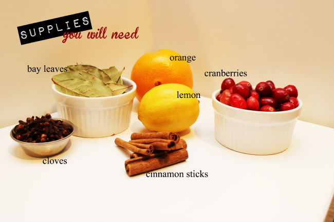 Supplies you need to make homemade simmering potpourri.