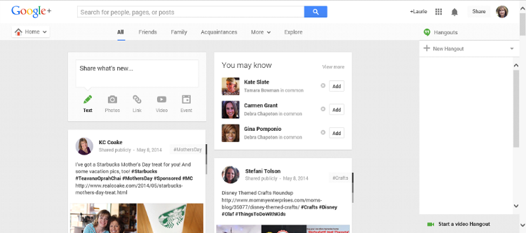 Google Plus Guide Layout