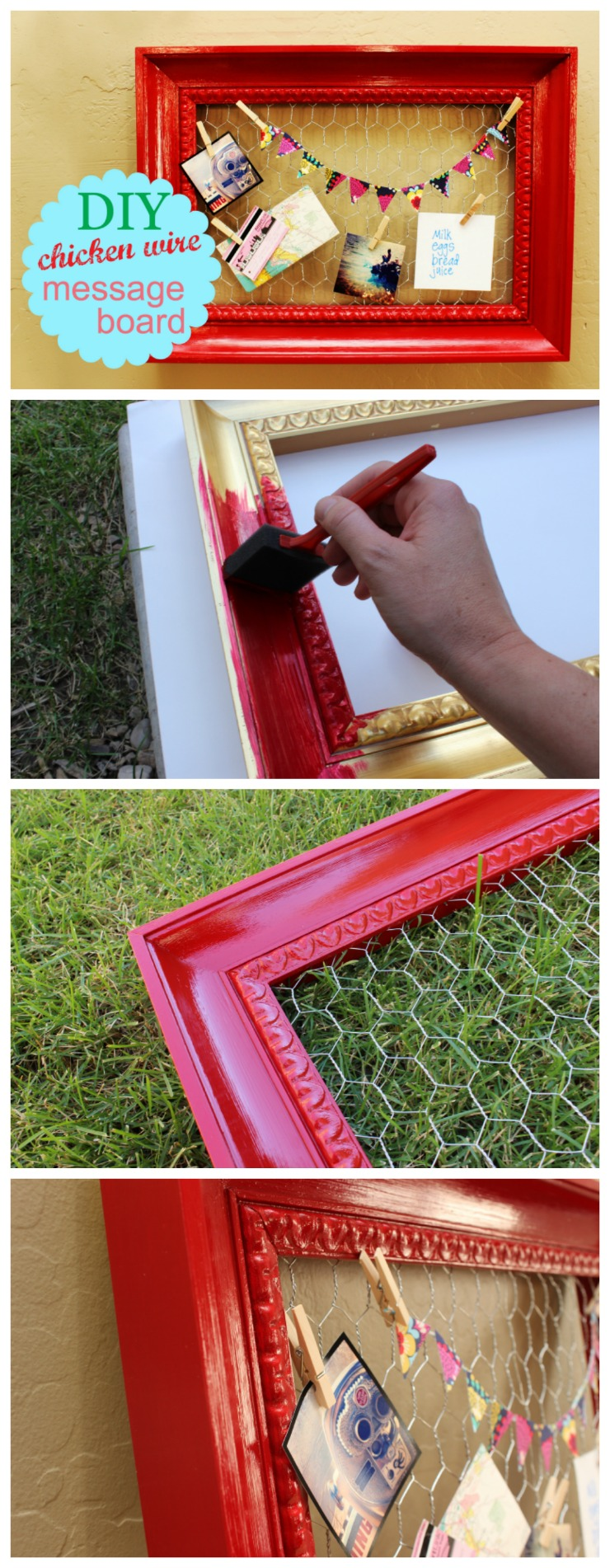 This cute, DIY chicken wire message board is a great way to stay organized and display pictures and other mementoes.