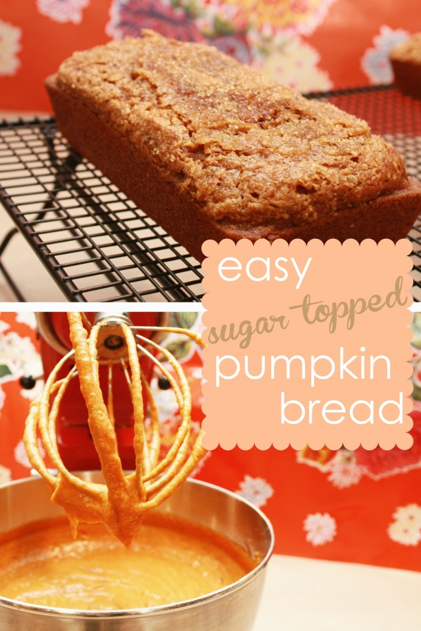 This sugar-topped pumpkin bread is yummy, and easy to make. Perfect for fall.
