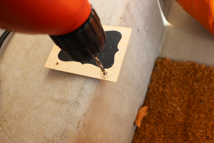 Drilling holes in wood squares