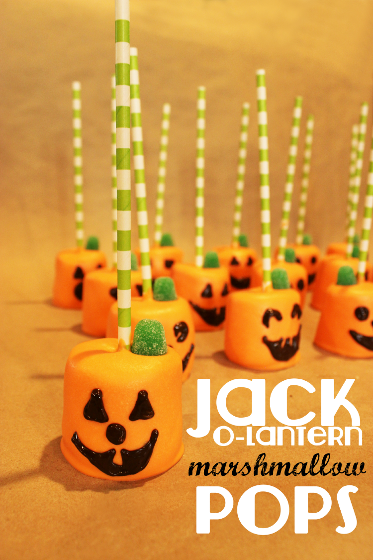 Jack-O-Lantern Marshmallow Pops - cute and easy Halloween craft that is perfect for the whole family.