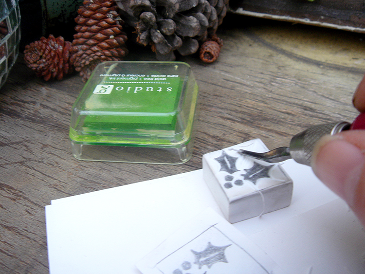 Carve your eraser to make your holiday stamp.