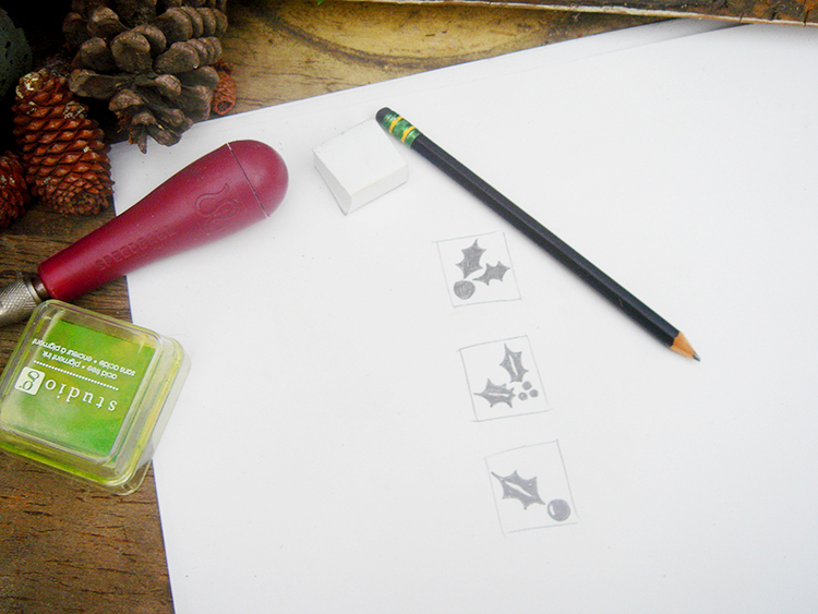 Draw the image you want to carve for your holiday stamp.