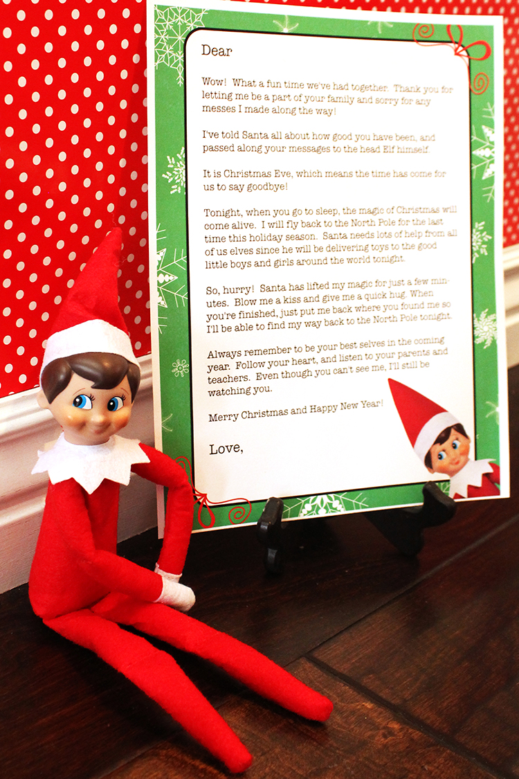 Elf On The Shelf GoodBye Letter - this is a super cute way to end your elf fun.