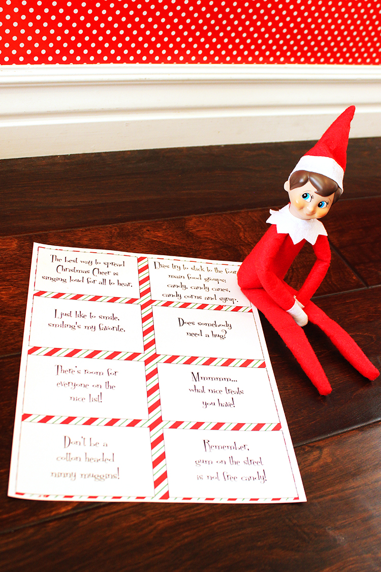 Love these cute elf quotes on these cards. Perfect for your Elf On The Shelf to leave a giggle.
