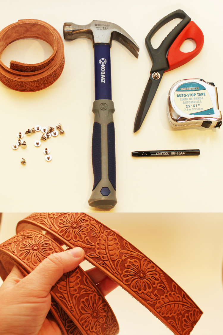 Tools needed to create DIY leather napkin rings.