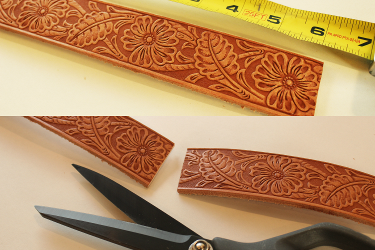 Measure and cut 6 inches on your leather strip.