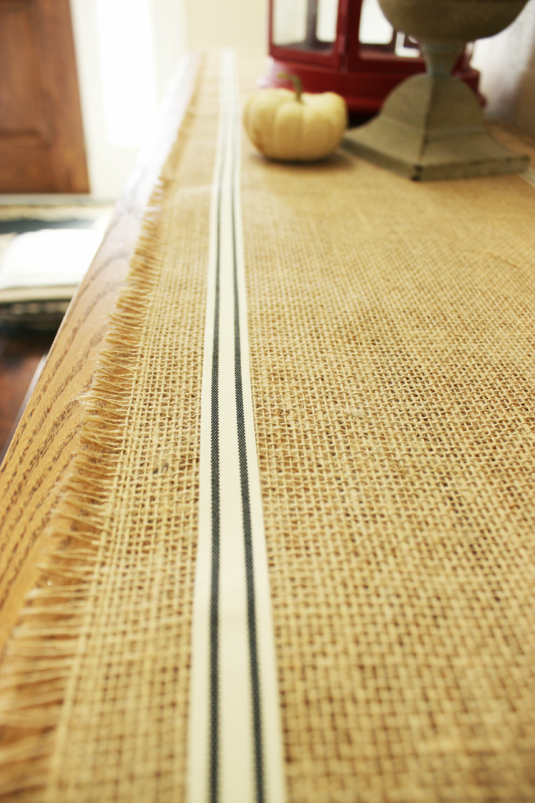 30-Minute DIY Burlap Table Runner is finished.