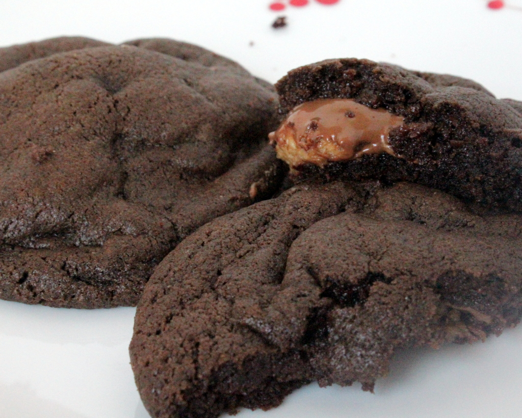 These chocolate peanut butter surprise cookies are amazing.