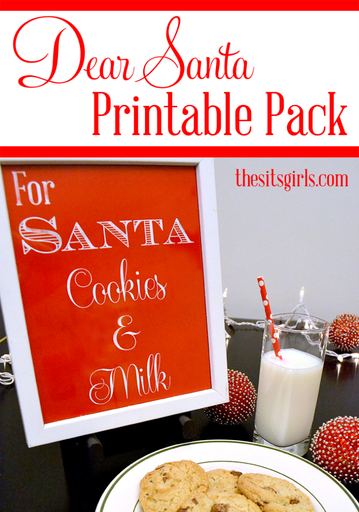 These Dear Santa printables will make your kids' Santa experience extra fun. With letters to and from Santa, a sign for Santa's cookies and milk, help making food for the reindeer with a recipe, poem, and sign, and a bonus pin the hat on the snowman game, this printable pack has everything you need for Santa's big day.