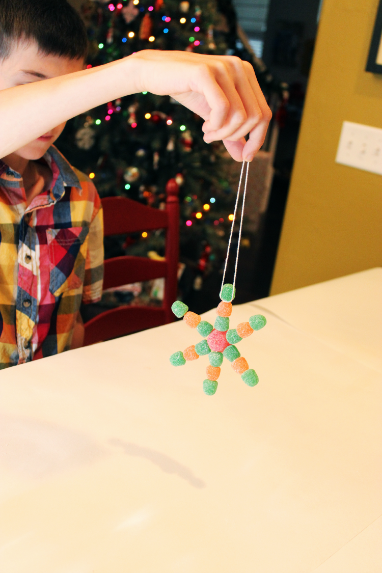 Hang your gumdrop snowflake on the tree, or give it as a gift.