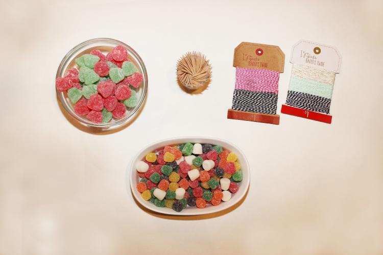 Supplies you need to make gumdrop snowflakes