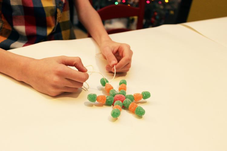 Attach twine to your gumdrop snowflake.