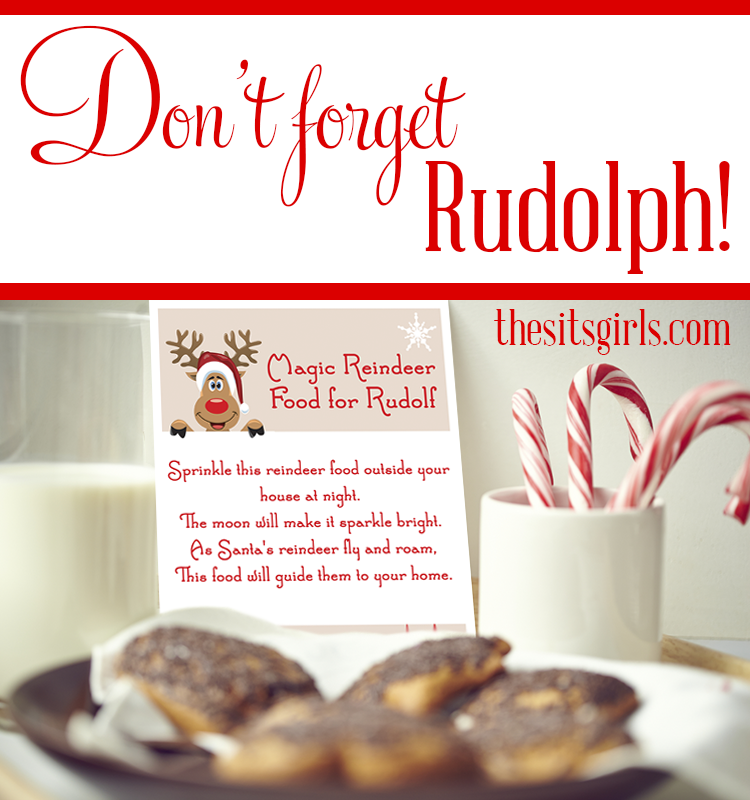 Don't forget to feed the reindeer! With this fun sign, poem, and bonus recipe for magic food, your kids can be sure the reindeer will be able to follow a glittery path straight to your home.