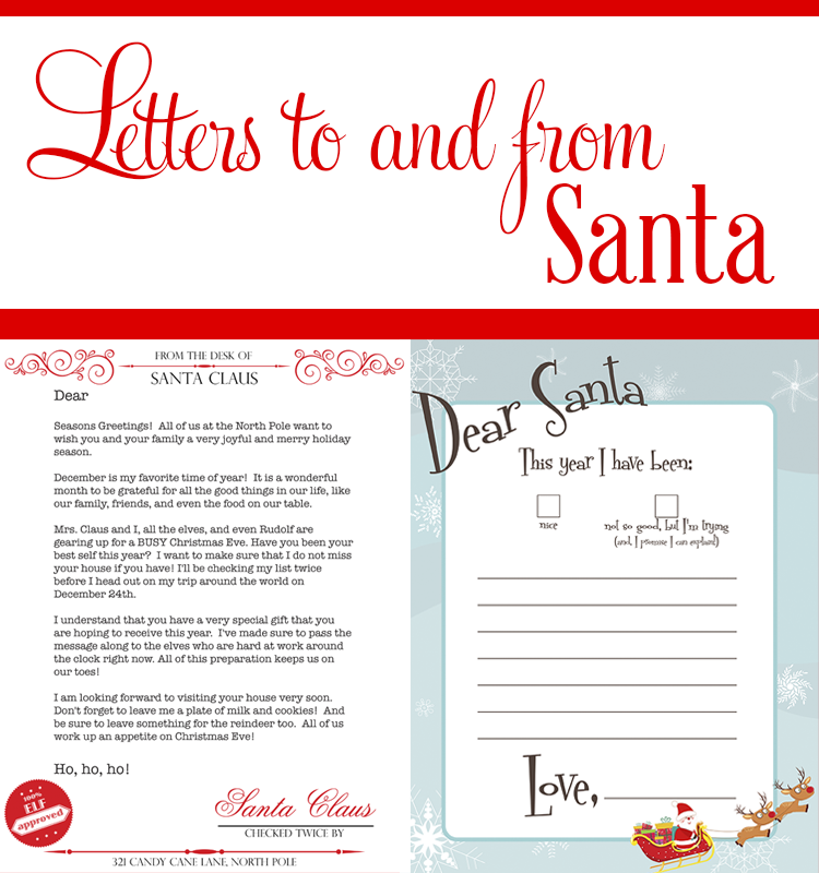 In the Dear Santa printable pack, you have a template letter for your kids' to write to Santa, and a letter for him to send back as a response.