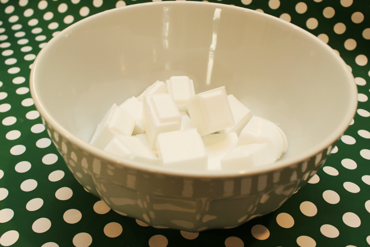 Cut your soap into small squares and place in microwave-safe bowl.