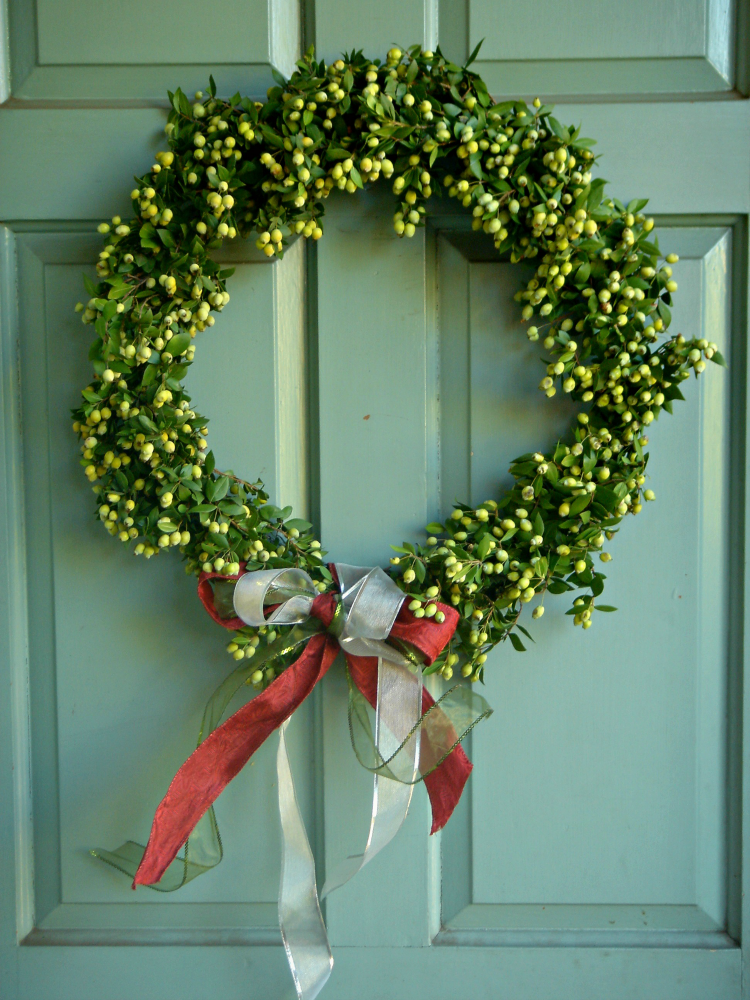 DIY Christmas wreath hanging on the front door. This was easy to make. Christmas home decor.