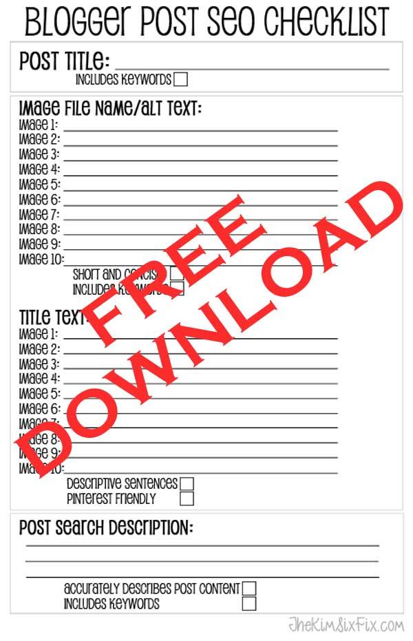 Free Blogger SEO Checklist Printable