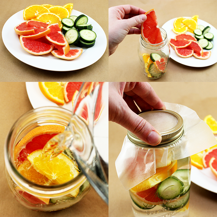 Detox water with grapefruit, orange, and cucumber.