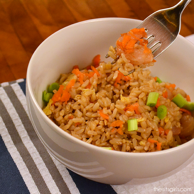 Easy fried rice recipe with shrimp and veggies.