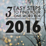Three Easy Steps To Find Your One Word For 2016