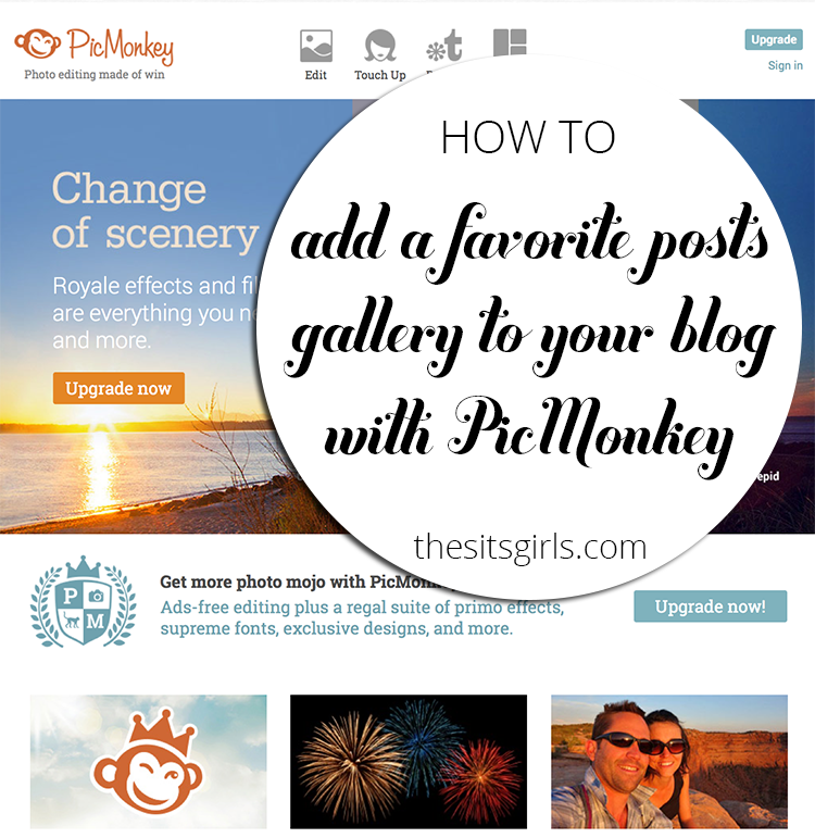 Learn how to create a favorite posts image gallery in PicMonkey and then turn it into an image map.  No more worrying about a plugin failing or not pulling the posts you want to highlight in your sidebar.