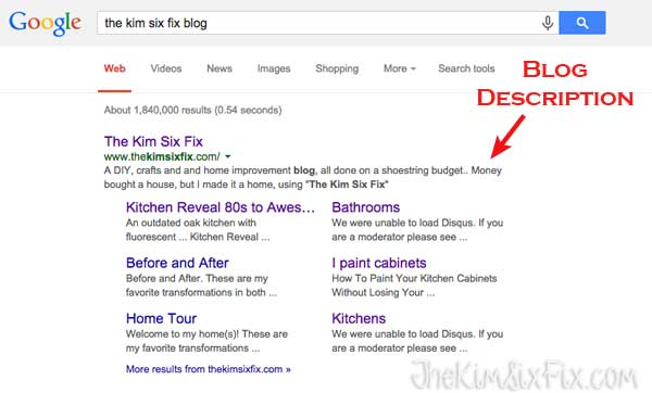 Your blog's description shows up in search results.