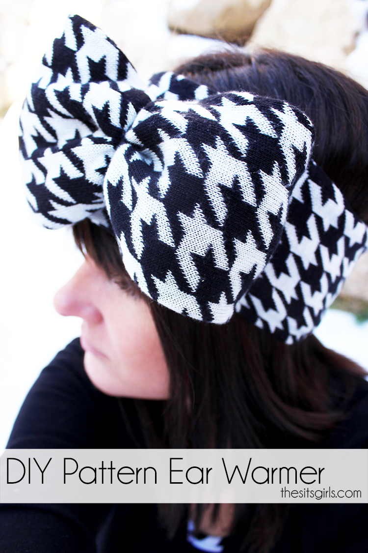 In less than 30 minutes, you can turn an old sweater into a cute, pattern ear warmer head wrap with a bow.