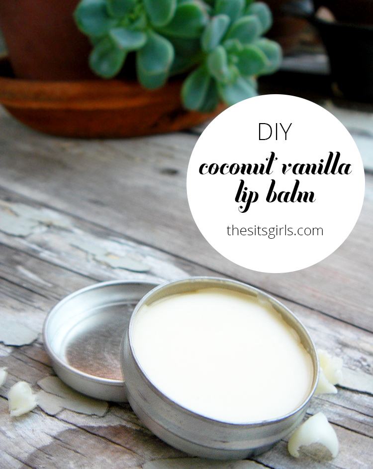 This homemade coconut vanilla lip balm recipe is natural and easy to make, so you can feel good about using it on your lips or giving it away as a gift. DIY.