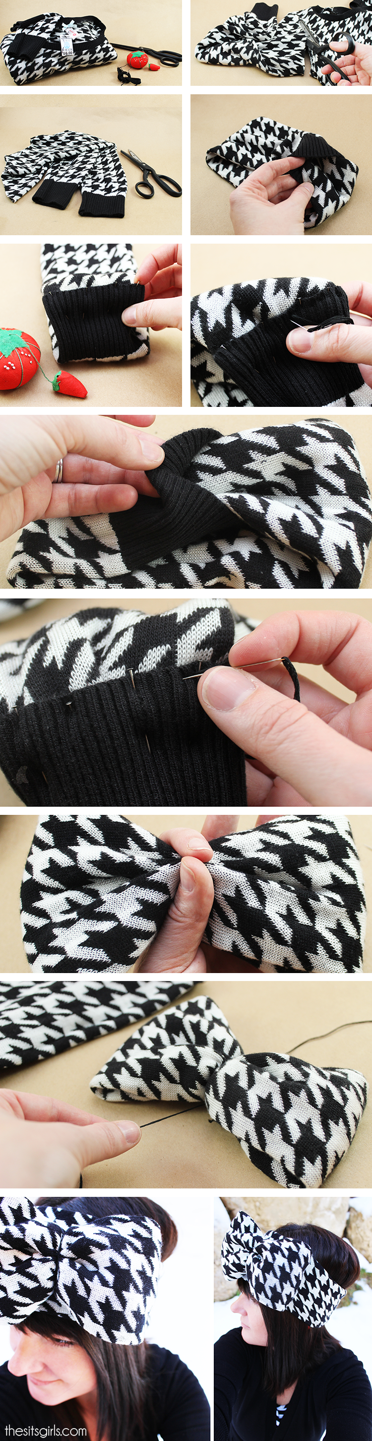 Step-by-step tutorial for making a pattern ear warmer head wrap with a bow.