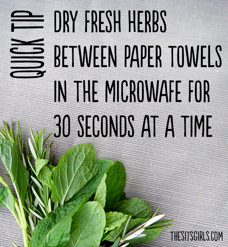 Quick tip for drying fresh herbs to add to a scrub or other DIY project.
