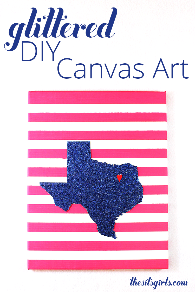 This easy to make glitter DIY canvas art is an easy way to add a pop of color and sparkle to any wall in your home.