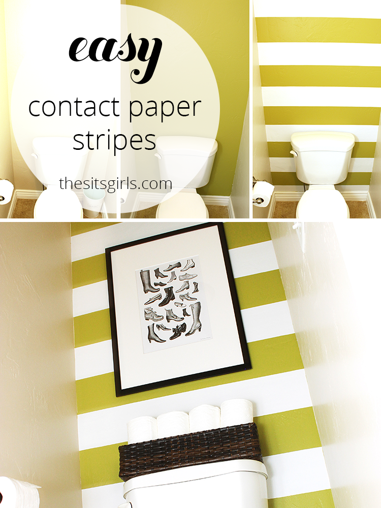 One of the best small bathroom design ideas I have seen. Use contact paper on textured walls to create stripes on your wall. This is a simple and easy bathroom redo, and a great design idea for renters.
