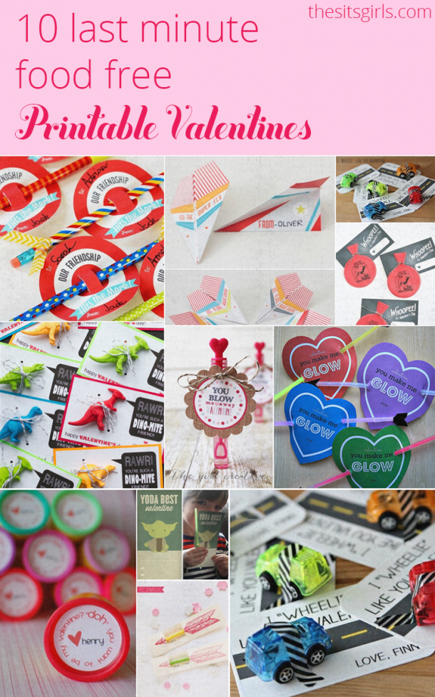 Perfect for last minute valentines, or for parties where you need food-free valentines. Free printables.