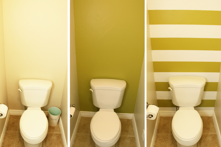 Transform A Small Bathroom With Stripes This Step By Tutorial Will Help You Use Diy Contact Paper Wall