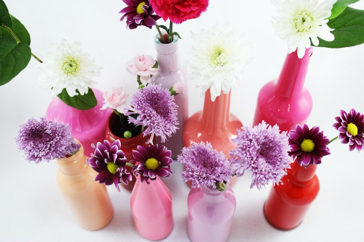 Diy Painted Glass Bottle Vases Glass Bottle Craft