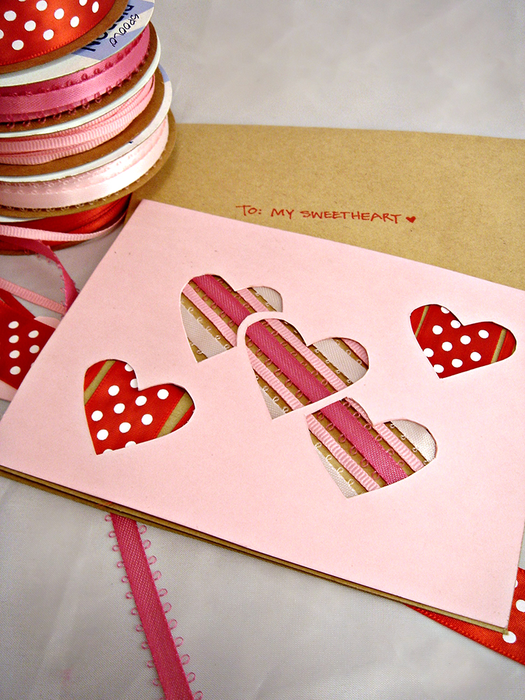 I love this sweet Peek-A-Boo Ribbon Valentine's Day card. This would be fun a fun project to do with kids.