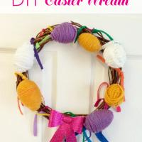 Fun home decor idea of Easter - yarn wrapped Easter egg wreath.