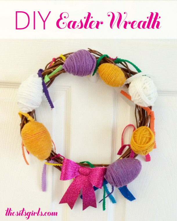 Fun home decor idea of Easter - yarn wrapped Easter egg wreath.